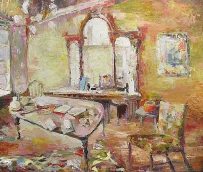 """In the House Next Door"" Oil on canvas/ Huile sur toile 36"" x 42"". Nancy De Boni"